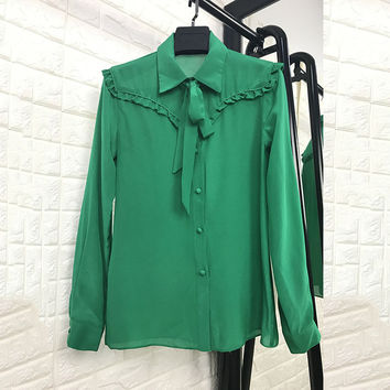 European Fashion Blouses 2017 New Spring Summer Full Sleeve Bow Elegant Green Designer Silk Ladies Blouse
