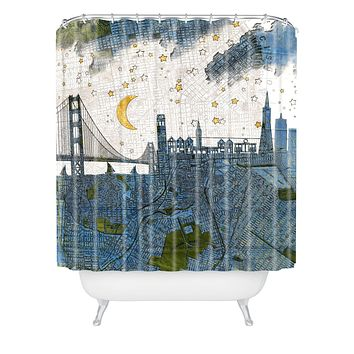 Belle13 San Francisco Starry Night Shower Curtain