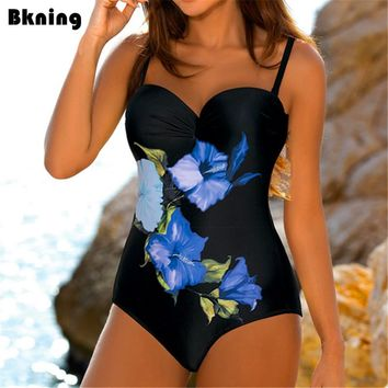 Flower One Piece Swimsuit Female Swimwear 2018 Trikini Mayokini Black Swimming Suit For Women Vintage Red Print Big Size XXL XL