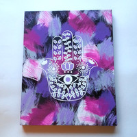 hippie hamsa hand evil eye bohemian fashionable acrylic canvas painting for trendy girls room or dorm room