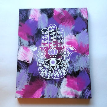 Hippie Hamsa Hand Evil Eye Bohemian Fashionable Acrylic Canvas Painting For Trendy Girls Room Or Dorm