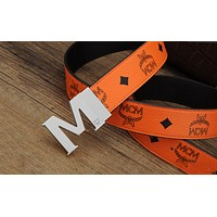 MCM Men Fashion Smooth Buckle Belt Leather Belt