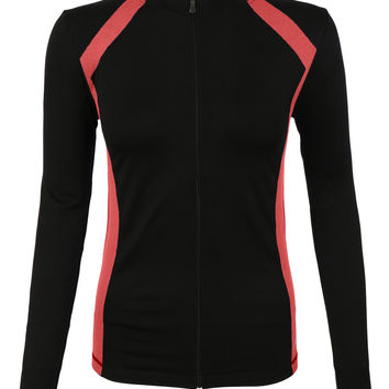 LE3NO Womens Active Full Zip Long Sleeve Mock Neck Workout Sports Running Jacket (CLEARANCE)