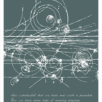 Science art - Physics - Niels Bohr's inspiring quote with particles' collision poster print (up to 70 x 100 cm) Science Office Decor
