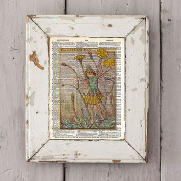 Vintage Flower Fairy art - Cats Ear Fairy - Fairy art print,  Dictionary print art