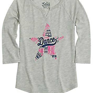 Justice Girl's DANCE Glitter Graphic 3/4 Sleeve Tee Size 10 NWT