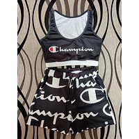 Champion Popular Woman Sexy Print Short Sleeve Two Piece Set