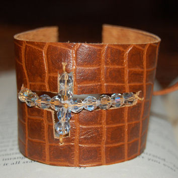 Leather Cuff.  Cross Cuff.  Swarovski Crystal Cuff.  Leather Cross Cuff. Free Gift Wrap.