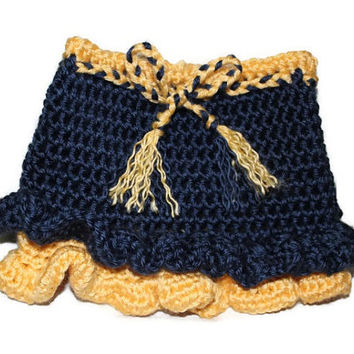 Crochet Women Teen Blue Yellow Gold Ruffle Skirt WVU Mountaineers West Virginia School Spirit Photo Photography Prop Birthday Gift for Her