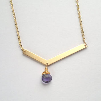 Quartz Teardrop Chevron Necklace Purple Drop Pendant Gold Faceted Briolette Necklace Quartz Jewelry Long Gemstone Jewelry Semi Precious