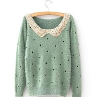 Product search_Green Vintage Polka Dot Sequins Sweater_udobuy - Fashion Dress with Free Shipping
