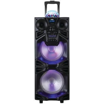 "Naxa Dual 10"" Portable Bluetooth Dj And Pa Speaker Stack With Disco Dome Light"