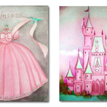 Girls Nursery Decor, Cinderella Wall Art, Nursery Decor, SET OF 2 Art Prints, Kids Baby Nursery, Castle of Cinderella, Prinsess Dress
