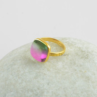 Tourmaline Bi Doublet Quartz Smooth Cushion 12mm Gemstone Micron Gold Plated 925 Sterling Silver Bezel Ring Jewelry - #1056
