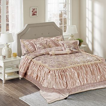 Tache 6 Piece Purple Beige Sequin Roses Comforter Set (MZ1158)