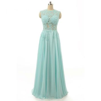Chiffon Appliques Scoop Neck Sleeveless Long A Line Prom Dresses Floor Length Off The Shoulder Zipper Prom Party Dress