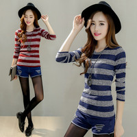 Women Knit Stripes Printed Slim Long Sleeve Round Necked Top T-Shirt _ 12673