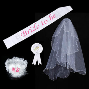 4 in 1 Party Bride to Be Sash Badge Rosette Garter Bridal Veils Party Wedding Shower White