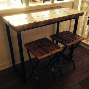 Industrial Mill Reclaimed Wood Breakfast Bar with Two Stools