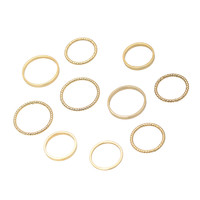 Band and Rope Multi Midi and Regular Size Ring Set of 10