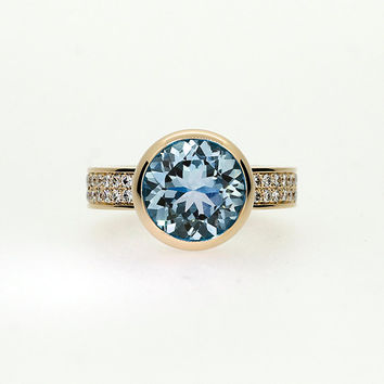 Sky blue Topaz engagement ring made from yellow gold, diamond ring, unique, bezel,  topaz solitaire, yellow, white gold, light blue topaz