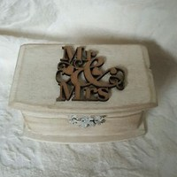 Rustic Wedding Ring Pillow Box Distressed Ivory MR & MRS