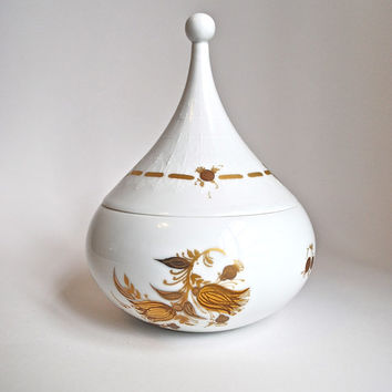 60's Iconic Gilt Porcelain Lidded Box by Bjørn Wiinblad for Rosenthal