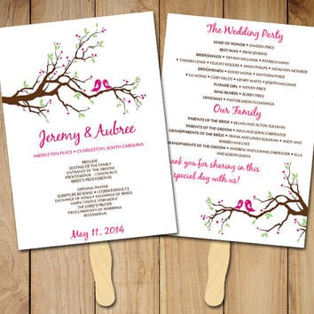wedding fan program template love bird fan ceremony program