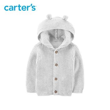 Carter's Button-Front Cardigan Autumn winter baby girl boys hooded sweater grey long sleeve knitted clothes 126H516