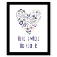 Home Is Where The Heart Is, Purple Wall Art, Home Decor, Quote Art, Inspirational Quote, Housewarming Gift, Floral Heart, INSTANT DOWNLOAD.