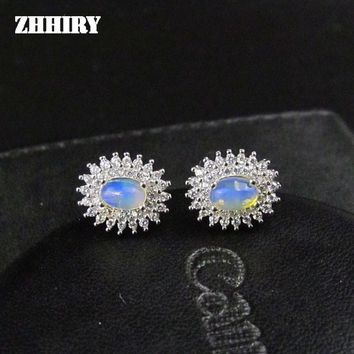 ZHHIRY Genuine Opal Gem Earring Natural Stone Solid 925 Sterling Silver Women Fine Jewelry Earrings