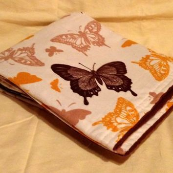 Butterflies on cream Receiving Blanket Double Sided Over sized