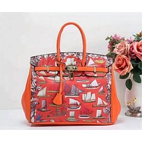 Hermes Women Shopping Leather Tote Crossbody Satchel Shoulder Bag Handbag Orange I-LLBPFSH