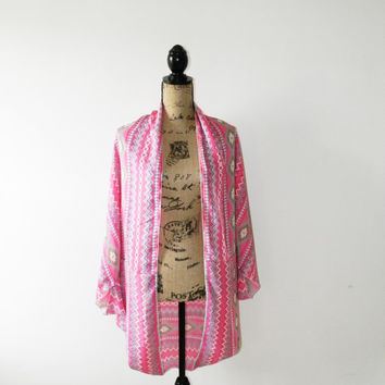 Tribal Cocoon Cardigan/ Pink Aztec Wrap/ Silky Cocoon Jacket/ Batwing Sleeves/ Oversized Shrug/ OOAK
