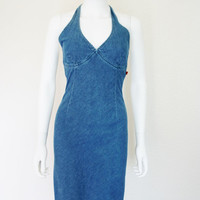 90's Jean Denim Halter Dress