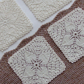 """White linen doilies, square coasters, flax knitted drink coasters, set of 4, 4.72""""x4.72"""", 12x12 cm"""