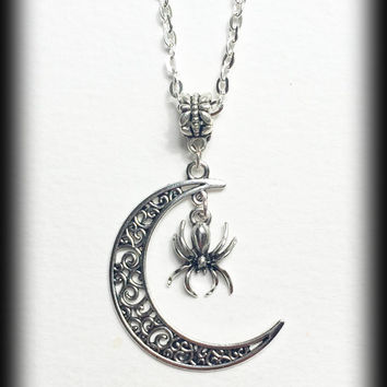 Crescent Moon Necklace, Gothic Wicca Pendant, Filigree Moon With Spider, Antique Silver, Alternative Jewelry, Gothic Gift For Her, Handmade