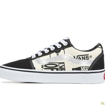 Women's Vans Ward Low Top Sneakers + Crystals - Black/Off White