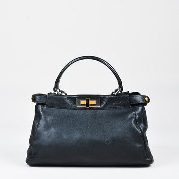 "Fendi Black Leather Small ""Peekaboo"" Metal Frame Satchel Bag"