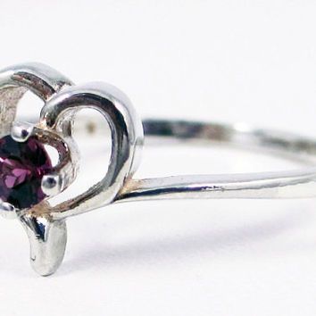 Garnet Petite Heart Birthstone Ring Sterling Silver, January Birthstone Ring, Rhodolite Garnet Ring, Purple Garnet Ring
