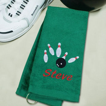Embroidered Hand Towel with Name for a Bowler