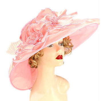 Kentucky Derby Church Wedding Floral Lace Wide Brim Organza Hat - Pink