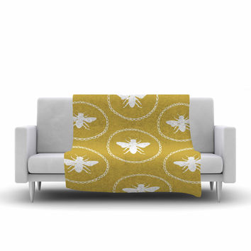 "Jennifer Rizzo ""Busy As A Bee Maise Gold"" White Nature Fleece Throw Blanket"