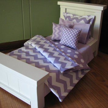 "Chevron Bedding Set for American Girl Doll or similar 18"" dolls - Lavender"