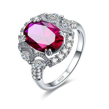 Merthus 3.45ct Red Ruby July Birthstone Cluster Art Deco Ring 925 Sterling Silver