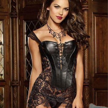 ac PEAPO2Q Fashion Sexy Women Corset With Thong 2017 Faux Leather Black Lace Shaper Bustier Plus Size S-6XL New