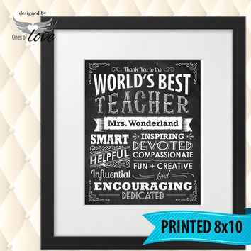 Teacher Gift | World's Best Teacher | Teacher Appreciation Gift | End of School Year | Teacher's gift | Gift for teacher | Custom Print