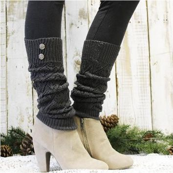 WINTER crochet leg warmers - dark grey