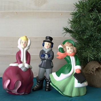 Ceramic Christmas Figurines, Vintage Atlantic Company Ceramic, Hand Painted Ceramic Christmas Carolers