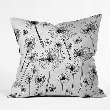 Julia Da Rocha Black Dandelion Throw Pillow